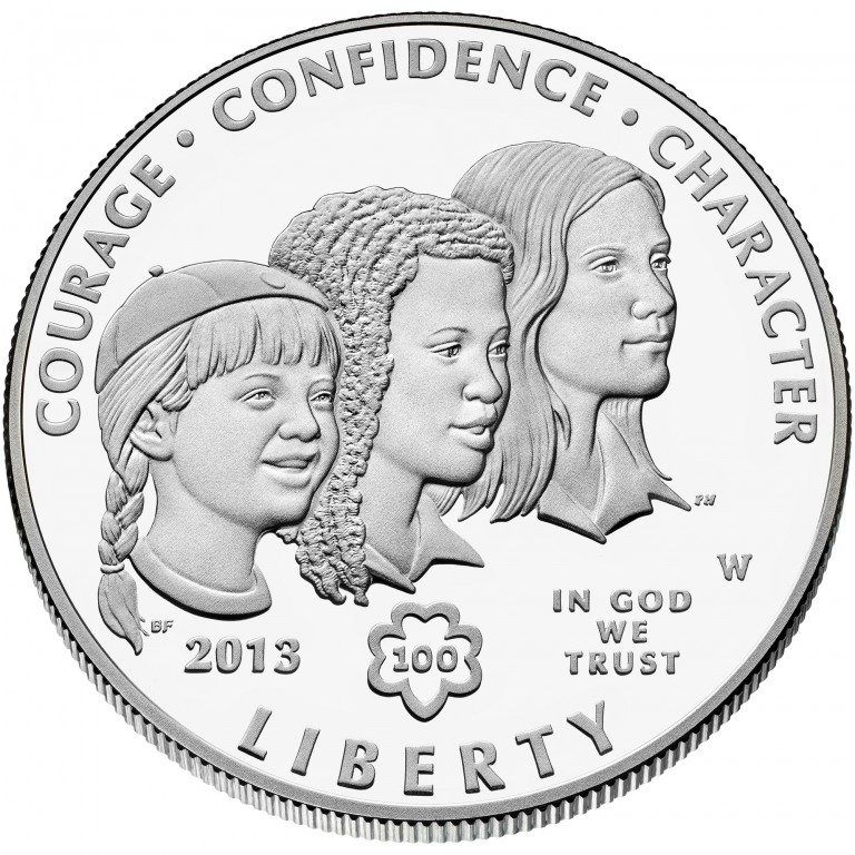 2013 Girl Scouts Centennial Commemorative Silver One Dollar Proof Obverse