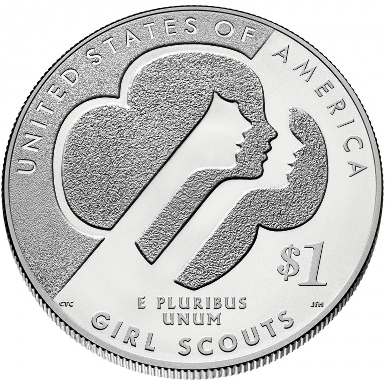 2013 Girl Scouts Centennial Commemorative Silver One Dollar Uncirculated Reverse