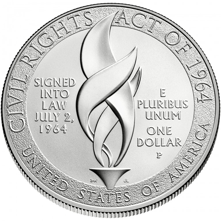 2014 Civil Rights Act Of 1964 Commemorative Silver One Dollar Uncirculated Reverse