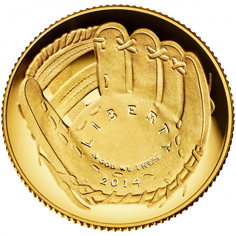 2014 National Baseball Hall Of Fame Commemorative Gold Five Dollar Proof Obverse