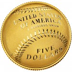 2014 National Baseball Hall Of Fame Commemorative Gold Five Dollar Proof Reverse