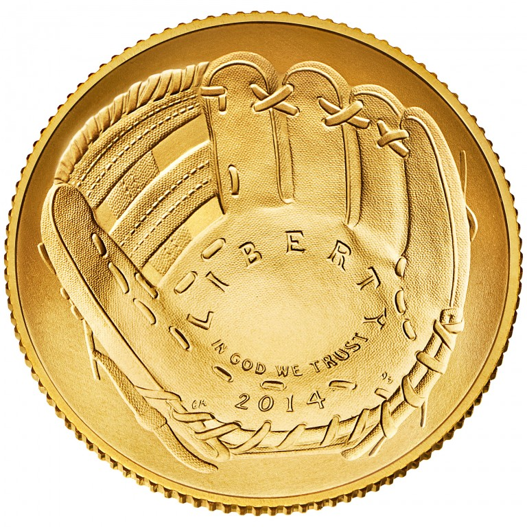 2014 National Baseball Hall Of Fame Commemorative Gold Five Dollar Uncirculated Obverse