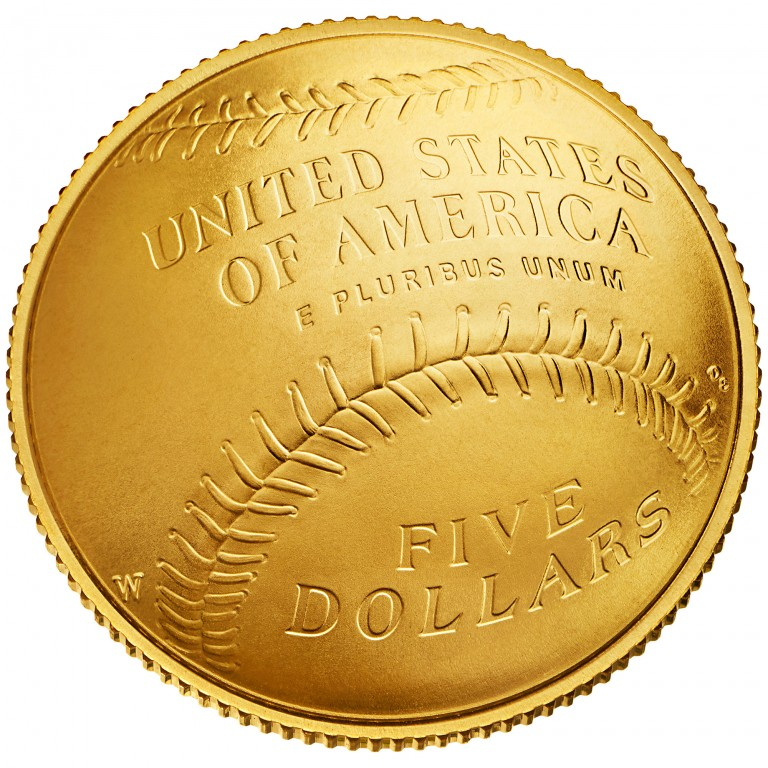 2014 National Baseball Hall Of Fame Commemorative Gold Five Dollar Uncirculated Reverse