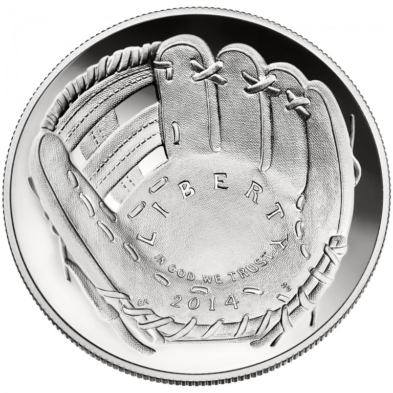 2014 National Baseball Hall Of Fame Commemorative Silver One Dollar Proof Obverse