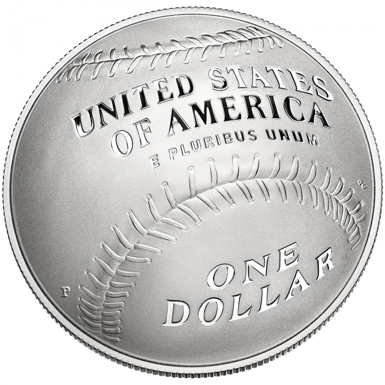 2014 National Baseball Hall Of Fame Commemorative Silver One Dollar Proof Reverse