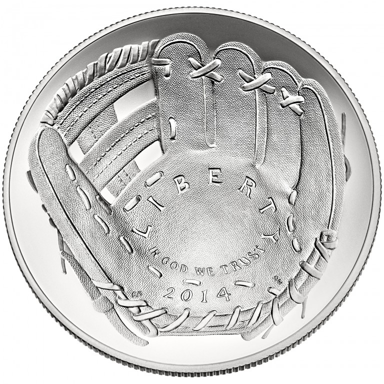 2014 National Baseball Hall Of Fame Commemorative Silver One Dollar Uncirculated Obverse