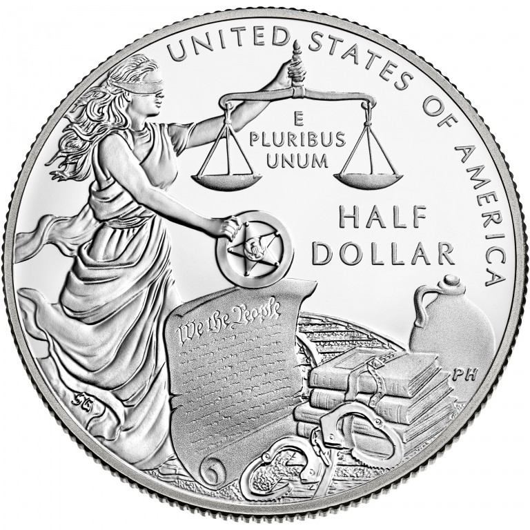 2015 United States Marshals 225Th Anniversary Commemorative Clad Half Dollar Proof Reverse