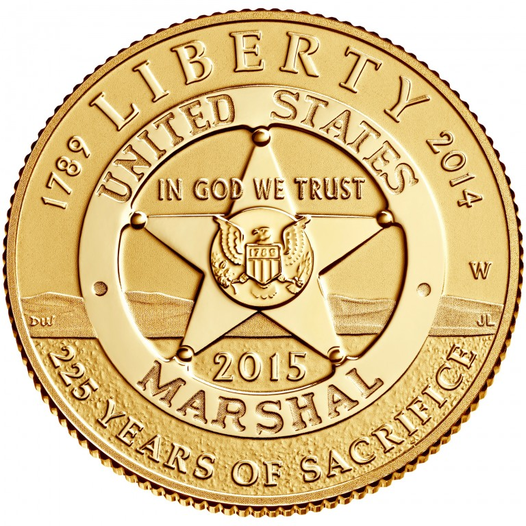 2015 United States Marshals 225Th Anniversary Commemorative Gold Five Dollar Proof Obverse