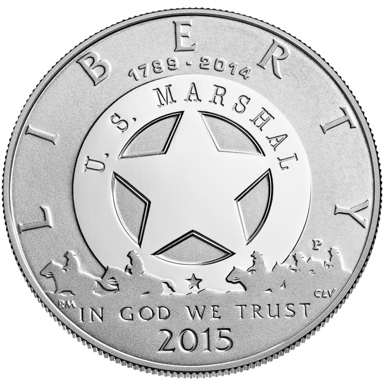2015 United States Marshals 225Th Anniversary Commemorative Silver One Dollar Proof Obverse