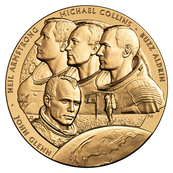 The 2011 New Frontier Congressional Gold Medal obverse depicts the Apollo 11 crew.