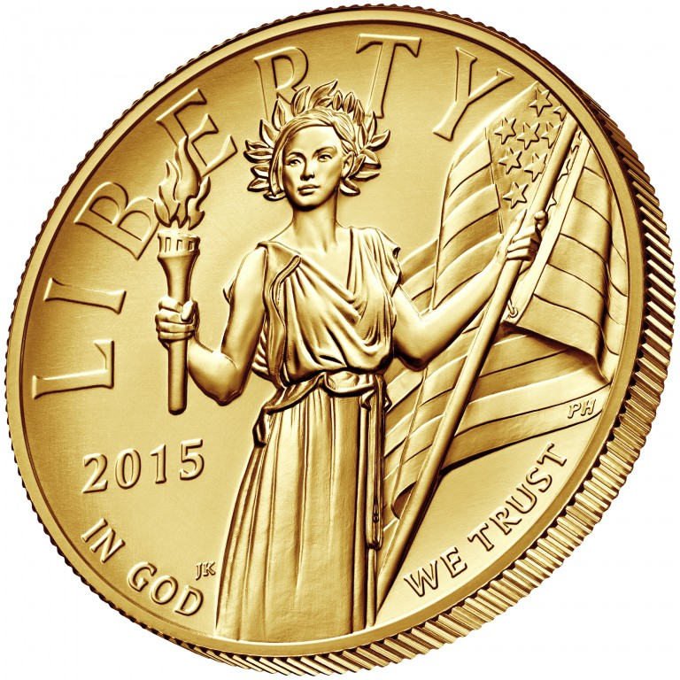 2015 American Liberty High Relief Gold Coin Obverse angle