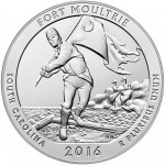 2016 America the Beautiful Quarters Five Ounce Silver Bullion Coin Fort Moultrie South Carolina Reverse