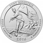 2016 America the Beautiful Quarters Five Ounce Silver Uncirculated Coin Fort Moultrie South Carolina Reverse