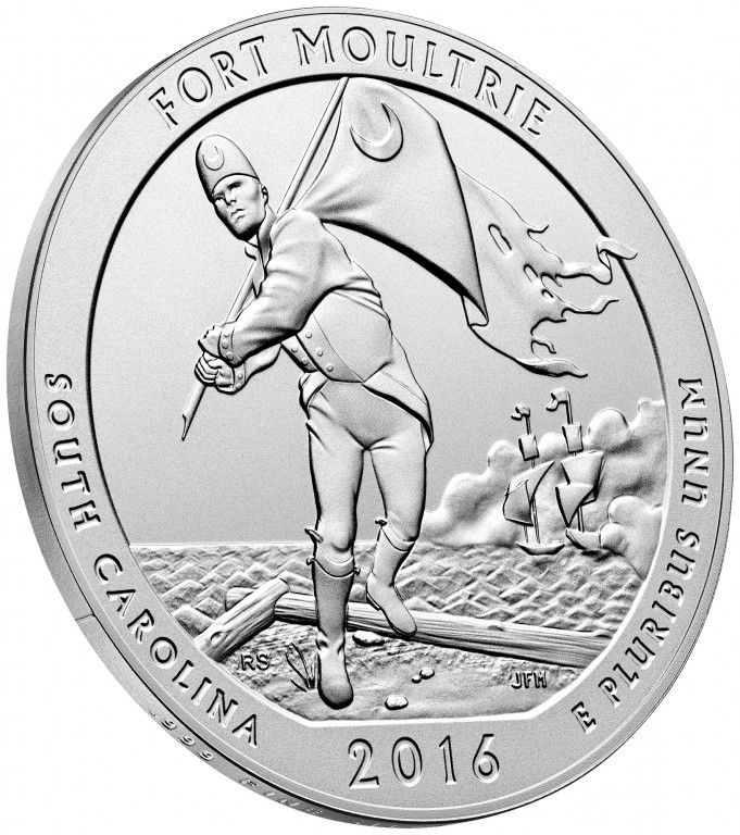 2016 America the Beautiful Quarters Five Ounce Silver Uncirculated Coin Fort Moultrie South Carolina Reverse Angle