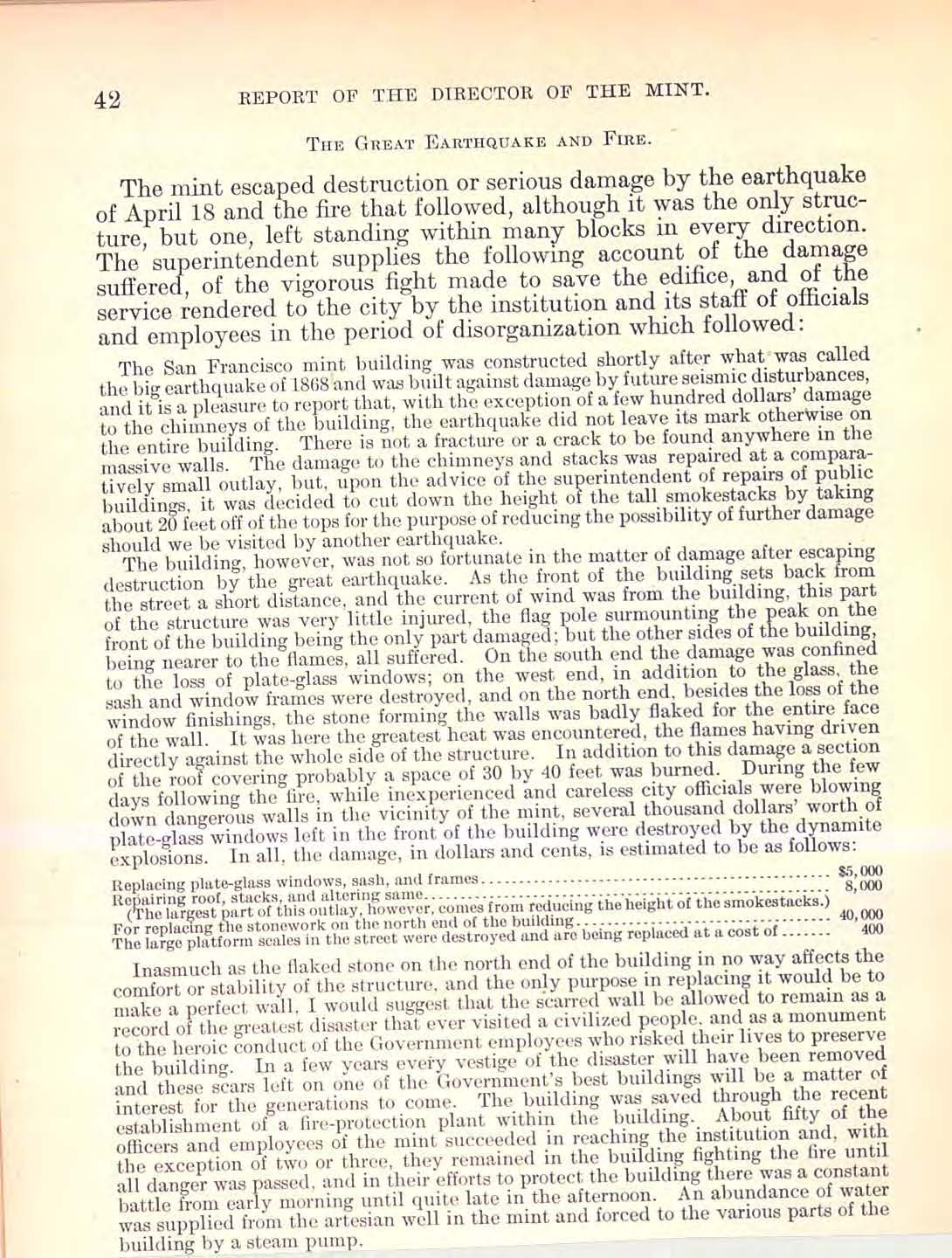 1906 Annual Report Excerpt, Page 42