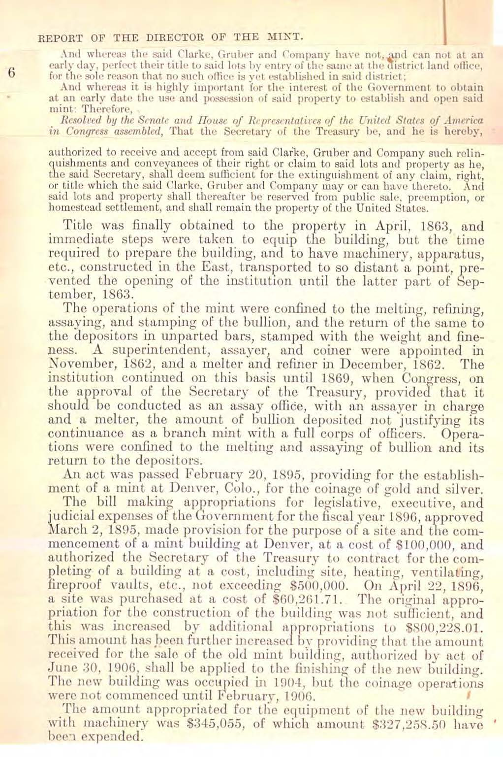 1906 Annual Report Excerpt, Page 6