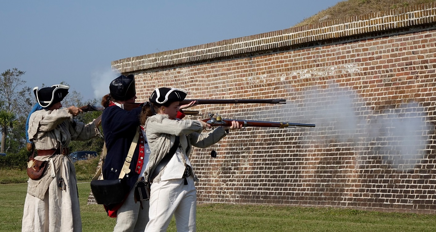 Live black powder musket fire celebrated the launch of the Fort Moultrie (Fort Sumter National Monument) quarter.