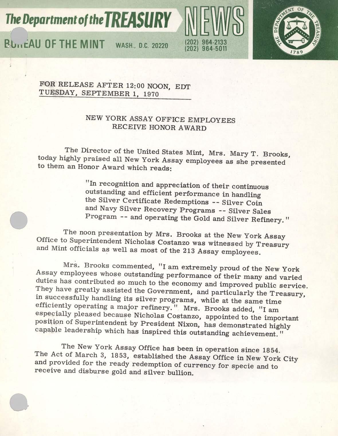 Historic Press Release: NY Assay Office Award, Page 1