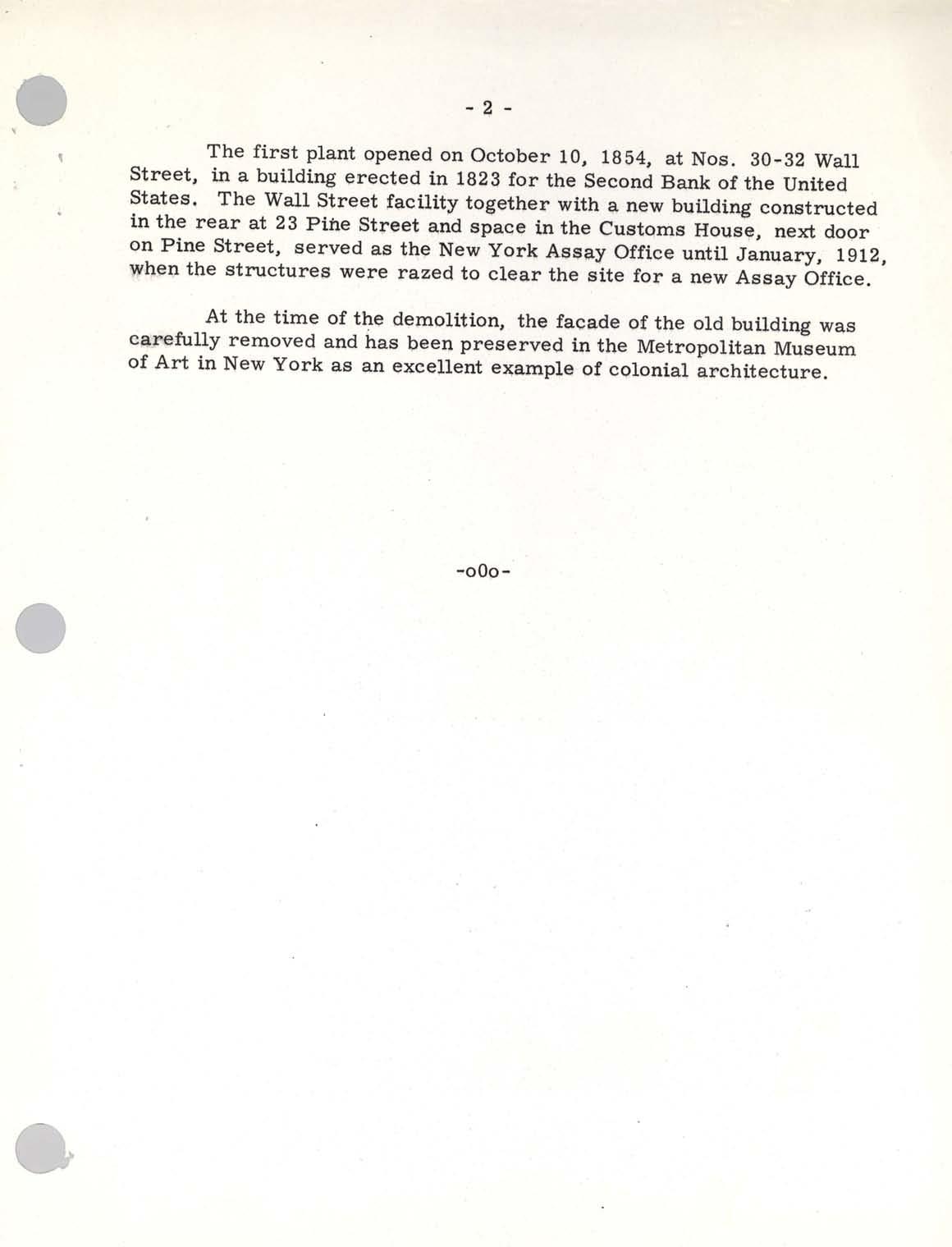 Historic Press Release: NY Assay Office Award, Page 2