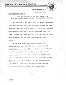 Mint to Stop Orders for 1968 Proof Coin Sets and Accept Orders for 1968 Uncirculated Coin Sets, March 25, 1968. Full text is duplicated in the body of this page.