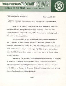 Mint to Accept Orders for 1971 Uncirculated Coin Sets, February 18, 1971. Full text is duplicated in the body of this page.
