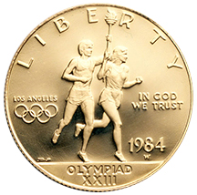 1984 Olympics Los Angeles Runners Commemorative Gold Ten Dollar Uncirculated Obverse