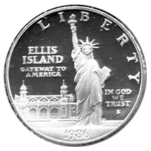 1986 Statue of Liberty Commemorative Silver Dollar Proof Obverse