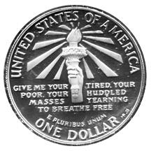 1986 Statue of Liberty Commemorative Silver Dollar Proof Reverse