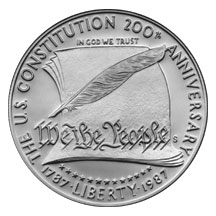 1987 Constitution Bicentennial Commemorative Silver Dollar Proof Obverse