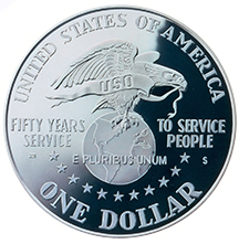1991 United Services Organization (USO) 50th Anniversary Silver Dollar Proof Reverse