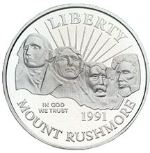 1991 Mount Rushmore Golden Anniversary Commemorative Clad Half Dollar Uncirculated Obverse