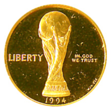 1994 World Cup Tournament Five Dollar Gold Proof Obverse