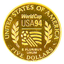 1994 World Cup Tournament Five Dollar Gold Proof Reverse