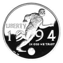 1994 World Cup Tournament Half Dollar Proof Obverse