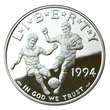 1994 World Cup Silver Dollar Proof Obverse