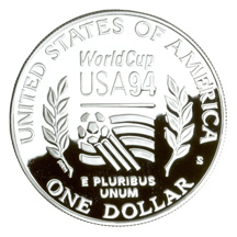 1994 World Cup Silver Dollar Proof Reverse