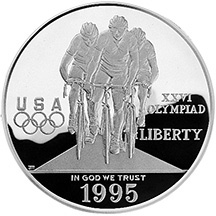 1995 Centennial Olympics Cycling Silver Dollar Proof Obverse