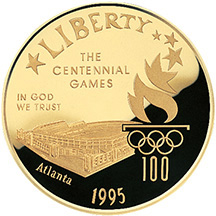 1995 Centennial Olympic Games Olympic Stadium Gold $5 Proof Obverse