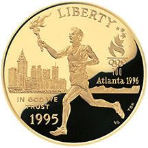 1995 Centennial Olympics Torch Run Gold $5 Proof Obverse