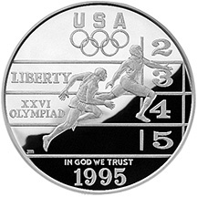1995 Centennial Olympics Track & Field Silver Dollar Proof Obverse