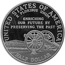 1995 Civil War Battlefield Commemorative Clad Half Dollar Uncirculated Reverse