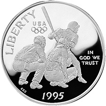 1995 Olympics Baseball Half Dollar Proof Obverse