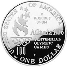 1996 Olympics High Jump Silver Dollar Proof Reverse