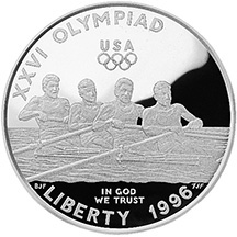 1996 Olympics Rowing Silver Dollar Proof Obverse