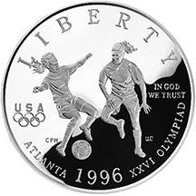 1996 Olympics Soccer Half Dollar Obverse