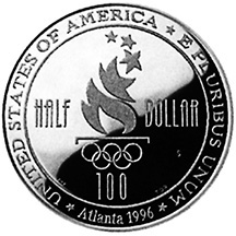 1996 Olympics Swimming Half Dollar Proof Reverse