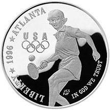 1996 Olympics Tennis Silver Proof Dollar Obverse
