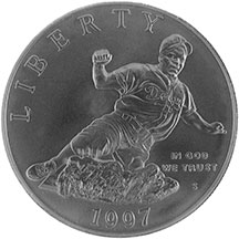 1997 Jackie Robinson Commemorative Silver Dollar Uncirculated Obverse