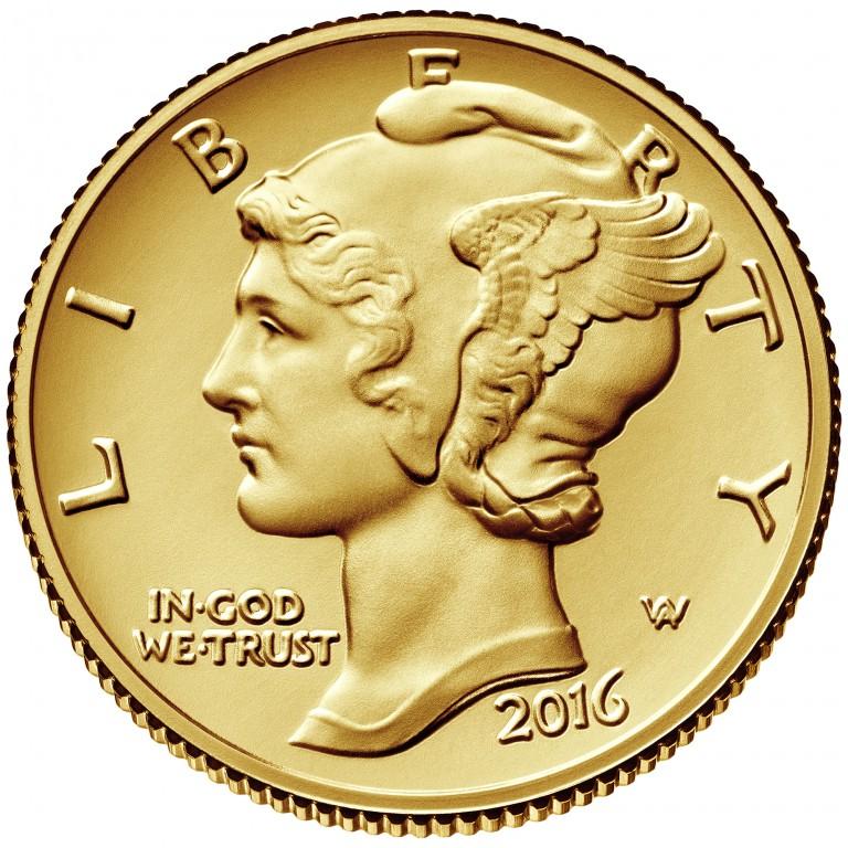 2016 Mercury Dime Centennial Gold Coin Obverse