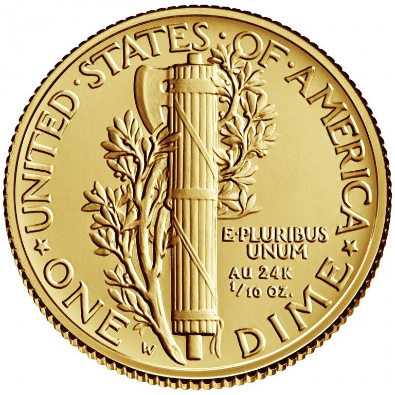2016 Mercury Dime Centennial Gold Coin Reverse